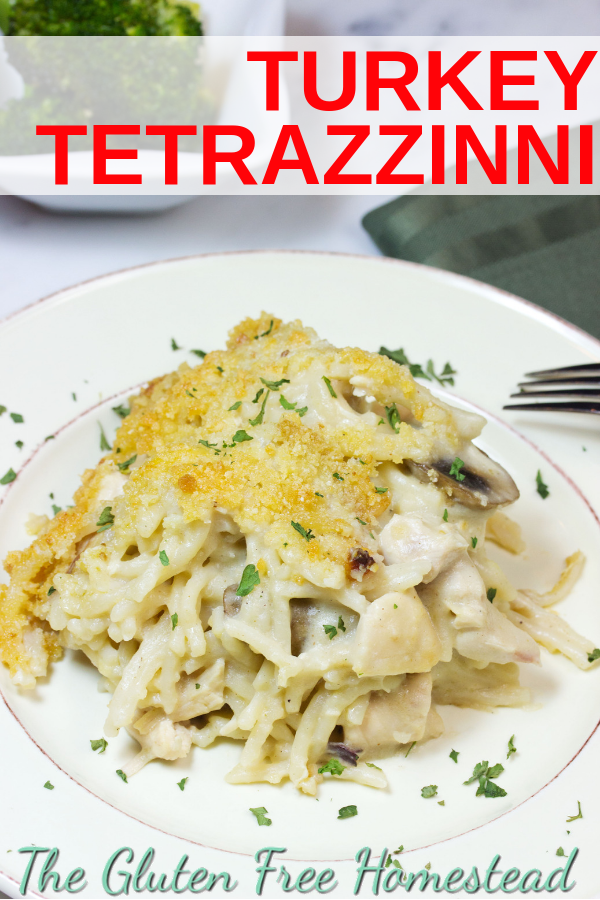 Easy healthy gluten free turkey tetrazzini casserole is the best way to use up turkey leftovers. You will love the creamy mushroom sauce and the crunchy topping made with panko breadcrumbs and parmesan cheese. It's so good. This can also be made with leftover chicken. Enjoy!