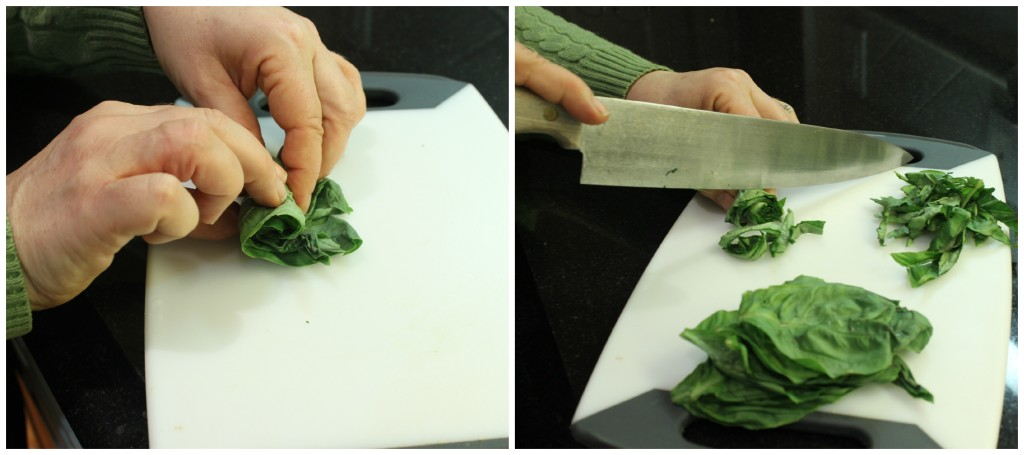 How to do a chiffonade cut on Basil