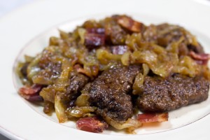 Beef Liver With Bacon And Caramelized Onions