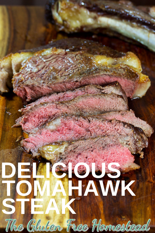 Click on the pin for tips and techniques to cook these huge tomahawk rib eye beef steaks in your oven. paleo, gluten-free, low-carb, keto, whole 30 by Gluten Free Homestead #steak #keto #ketosteak #paleo