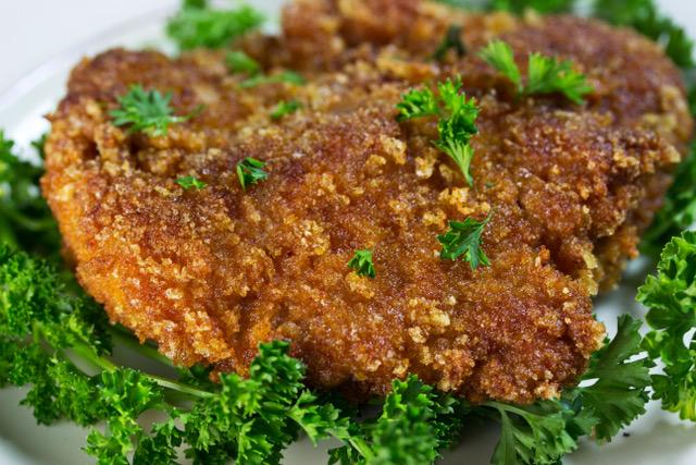 Crispy bites of keto pork fillet close up